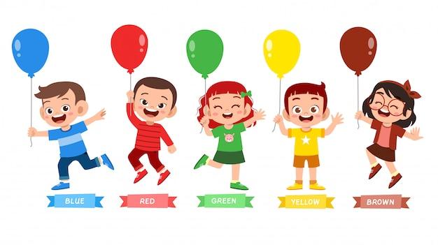 Szczęśliwe słodkie dziecko nosić wiele kolorów Premium Wektorów
