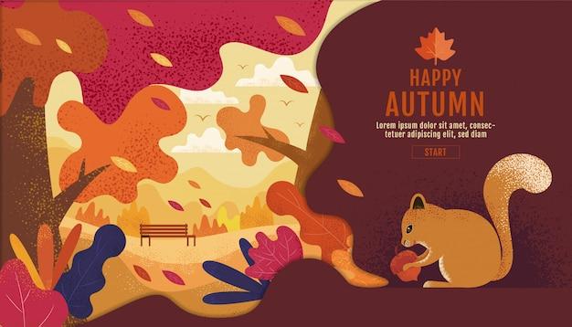 Szczęśliwe święto dziękczynienia, ogród jesienią., rysunek, rysunek, krajobraz Premium Wektorów