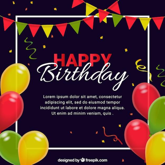 Szczęśliwe Tło Urodzinowe Z Kolorowym Balonem Darmowych Wektorów