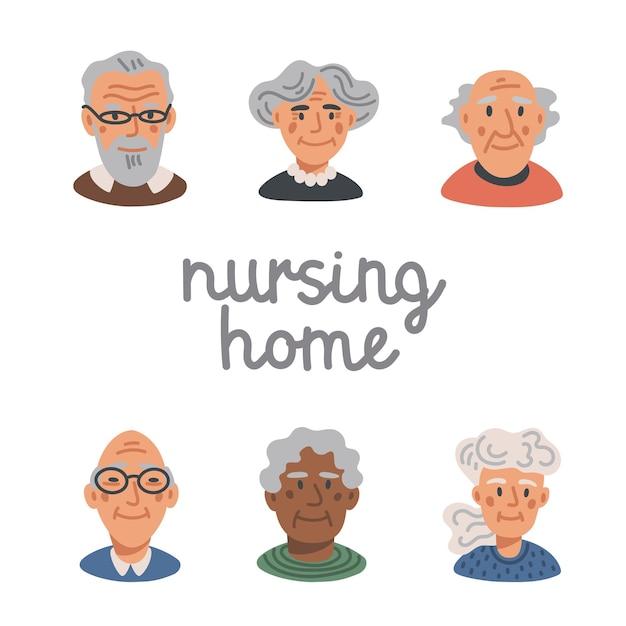 Szczęśliwe Twarze Osób Starszych - Dom Pomocy Społecznej Premium Wektorów