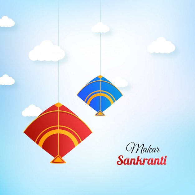 Szczęśliwe Wiszące Latawce Makar Sankranti Premium Wektorów