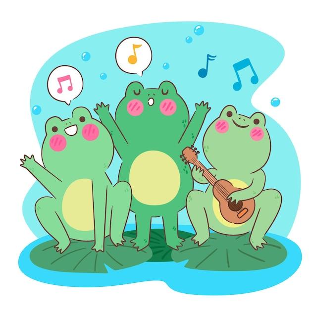 Szczęśliwe żaby Kawaii śpiewają I Grają Na Ukulele Darmowych Wektorów