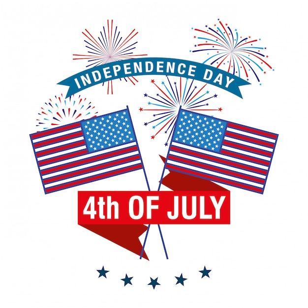 Szczęśliwego czwartego lipca. karta dnia niepodległości Premium Wektorów