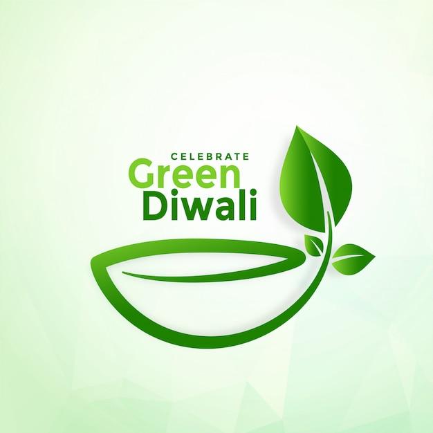 Szczęśliwego Diwali Eco Diya Kreatywnie Zielony Tło Darmowych Wektorów