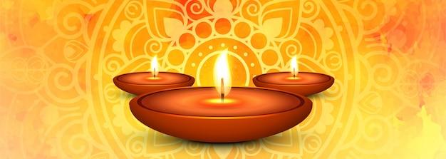 Szczęśliwego diwali i iluminowanej lampy naftowej baner społecznościowy Darmowych Wektorów
