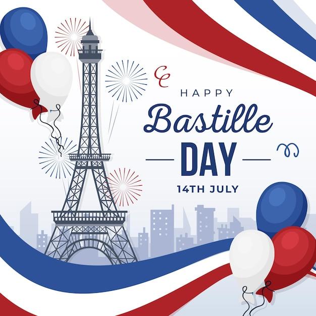 Szczęśliwego Dnia Bastylii 14 Lipca Premium Wektorów