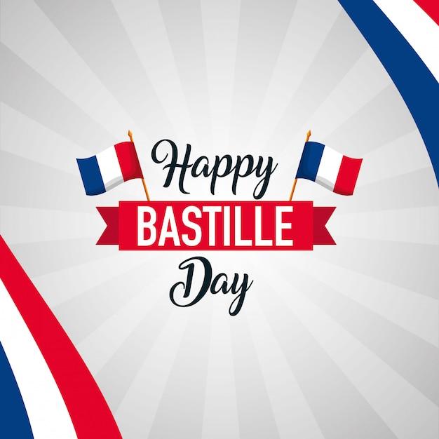 Szczęśliwego dnia bastylii Darmowych Wektorów