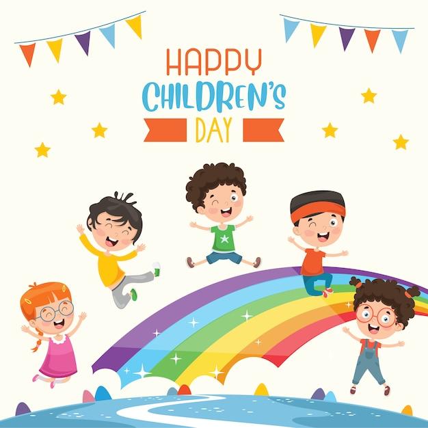 Szczęśliwego dnia dziecka Premium Wektorów