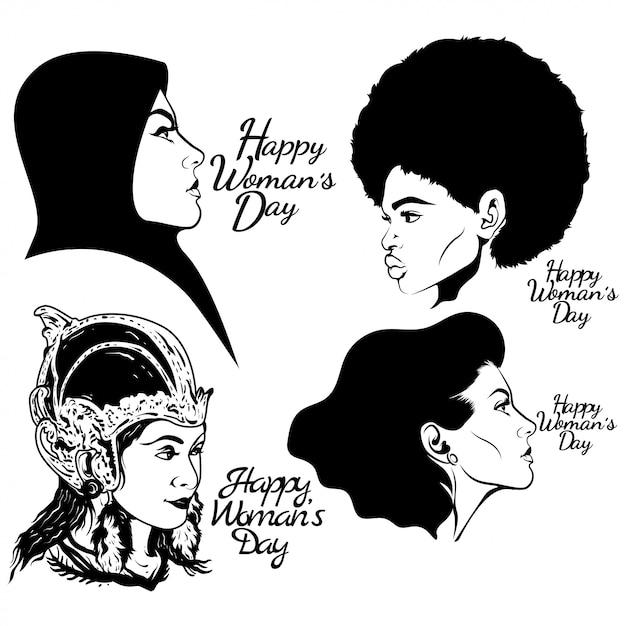 Szczęśliwego Dnia Kobiet Premium Wektorów