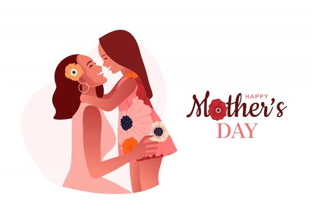 Szczęśliwego Dnia Matki. Mama Przytula Swoją Córkę. Miłość Mamy Premium Wektorów