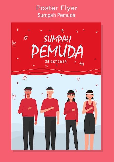 Szczęśliwego Dnia Młodzieży Indonezji Premium Wektorów