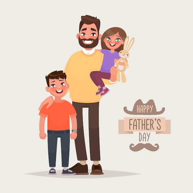 Szczęśliwego Dnia Ojca. Ojciec Z Synem I Córką. Kartka Z życzeniami. Ilustracja Wektorowa W Stylu Cartoon Premium Wektorów