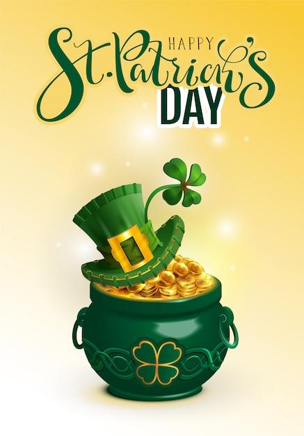 Szczęśliwego Dnia świętego Patryka Powitanie Tekstu. Zielony Kapelusz, Złota Moneta Z Pełną Doniczką I Koniczyna Szczęścia Premium Wektorów