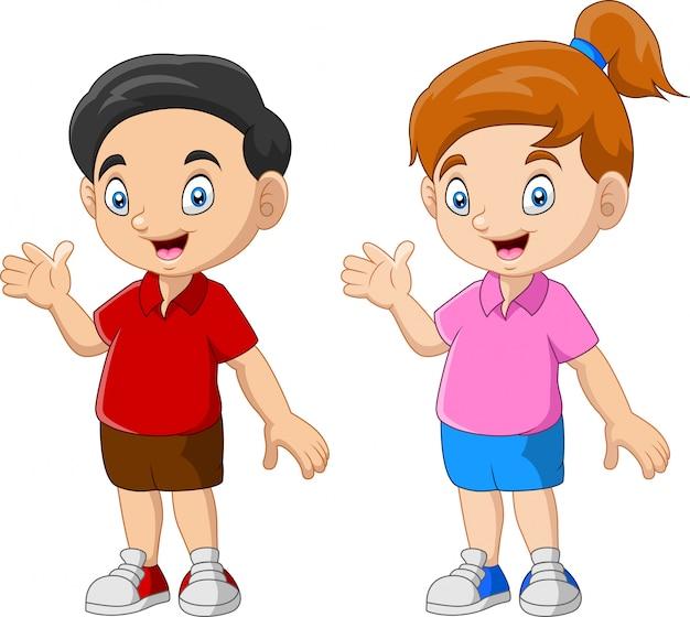 Szczęśliwego dzieciaka kreskówki śmieszna para Premium Wektorów