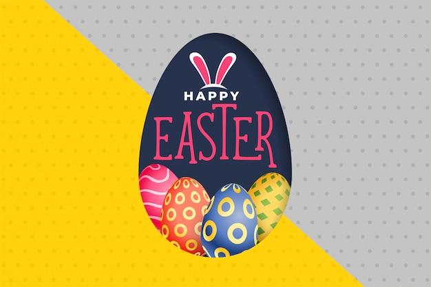 Szczęśliwego Easter Dnia Jajek Kolorowy Tło Darmowych Wektorów