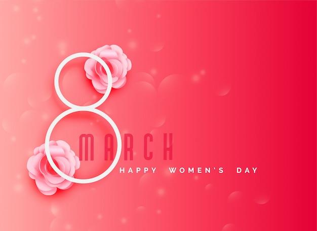 Szczęśliwego kobiet obchody dnia tło w kolorze różowym motywu Darmowych Wektorów