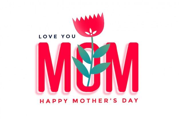 Szczęśliwego Matka Dnia Piękny Powitanie Z Kwiatem Darmowych Wektorów