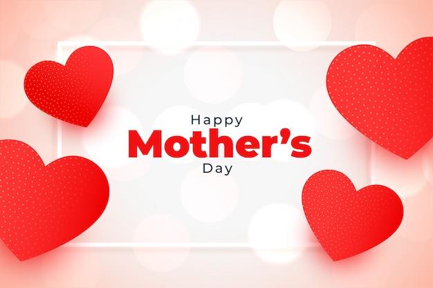 Szczęśliwego Matka Dnia Serc Czerwony Powitania Tło Darmowych Wektorów