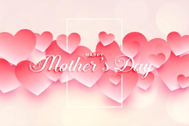Szczęśliwego Matka Dnia Serc Tła Piękny Projekt Darmowych Wektorów