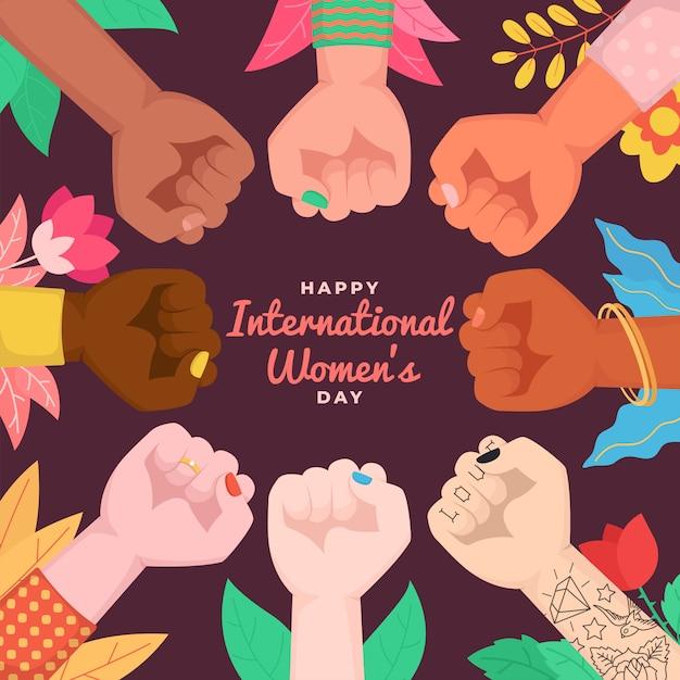 Szczęśliwego Międzynarodowego Dnia Kobiet. Uniesione Pięści Kobiety Obejmując Siłę Kobiet. Premium Wektorów