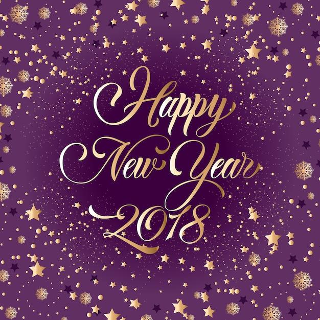 Szczęśliwego Nowego Roku 2018 Napis, Złotych Gwiazd Darmowych Wektorów