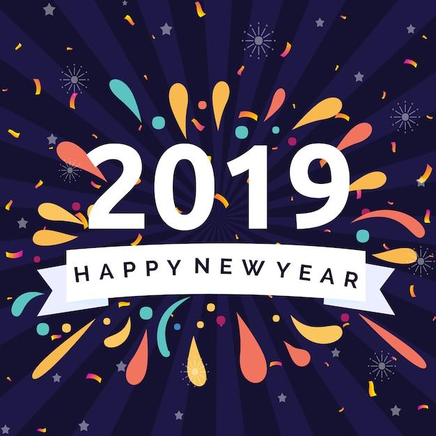 Szczęśliwego nowego roku 2019 ilustracja koncepcja Premium Wektorów
