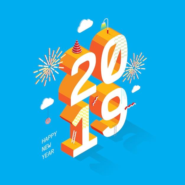 Szczęśliwego nowego roku 2019_isometric style Premium Wektorów