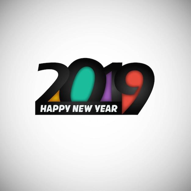 Szczęśliwego nowego roku 2019 projekt z białym tłem Darmowych Wektorów