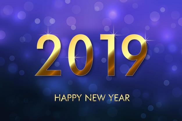 Szczęśliwego nowego roku 2019 tło Premium Wektorów