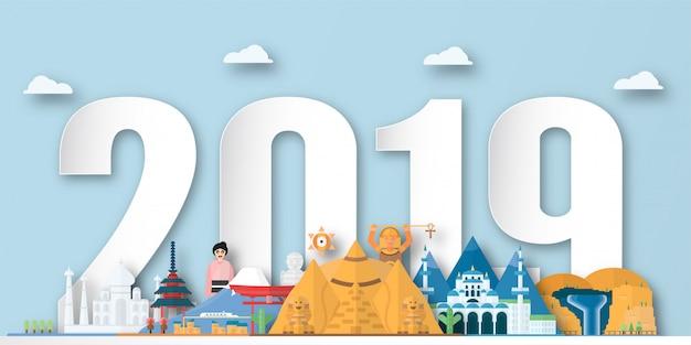 Szczęśliwego nowego roku 2019 Premium Wektorów