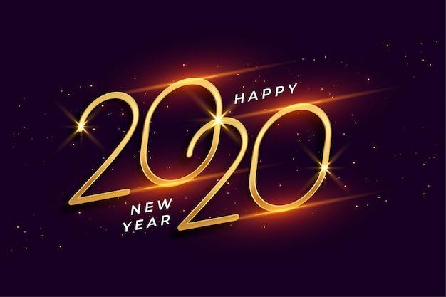 Szczęśliwego Nowego Roku 2020 Błyszczący Złote Tło Uroczystości Darmowych Wektorów