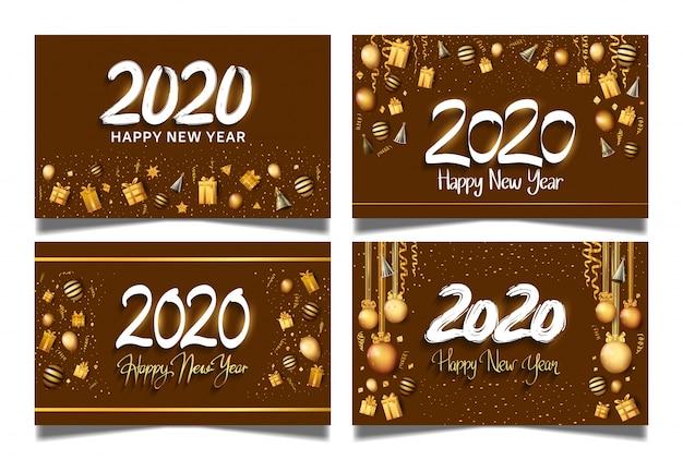 Szczęśliwego Nowego Roku 2020 Brązowe Tło Zestaw Banner Premium Wektorów