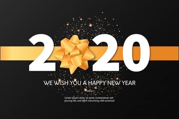 Szczęśliwego nowego roku 2020 celebracja szablon karty z pozdrowieniami Darmowych Wektorów