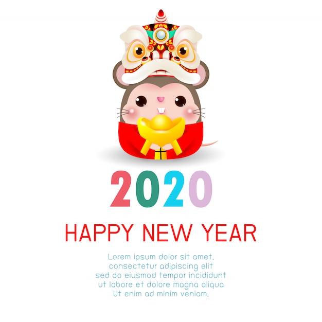 Szczęśliwego nowego roku 2020. chiński nowy rok. rok szczura. kartkę z życzeniami szczęśliwego nowego roku z cute little rat ze lion dance head trzymając chińskie złoto Premium Wektorów