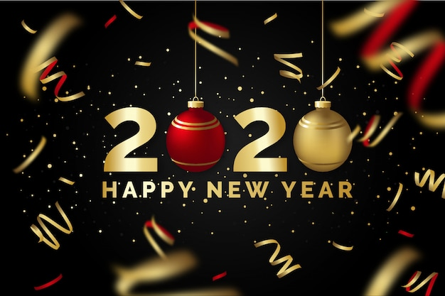 Szczęśliwego Nowego Roku 2020 Czarno-złote Kartkę Z życzeniami Premium Wektorów