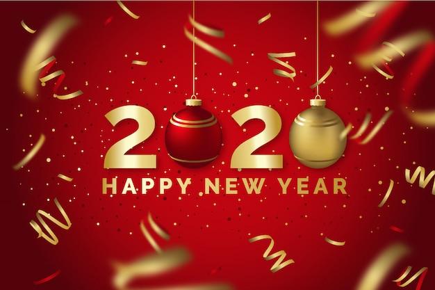 Szczęśliwego Nowego Roku 2020 Czerwony I Złoty Kartkę Z życzeniami Premium Wektorów