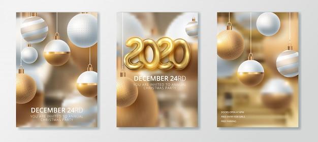 Szczęśliwego nowego roku 2020 i wesołych świąt bożego narodzenia zestaw kart okolicznościowych Premium Wektorów