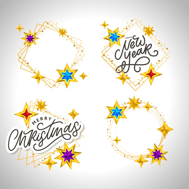 Szczęśliwego Nowego Roku 2020. Kompozycja Napis Z Gwiazdami I Błyszczy. Ramka Ilustracja Wakacje Premium Wektorów