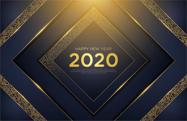 Szczęśliwego Nowego Roku 2020 Luksusowe Tło Z Brokatem Złota Premium Wektorów
