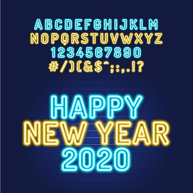 Szczęśliwego Nowego Roku 2020 Neon Rurka Alfabetu Czcionki. Typografia Dla Nagłówków, Plakatów Itp. Premium Wektorów