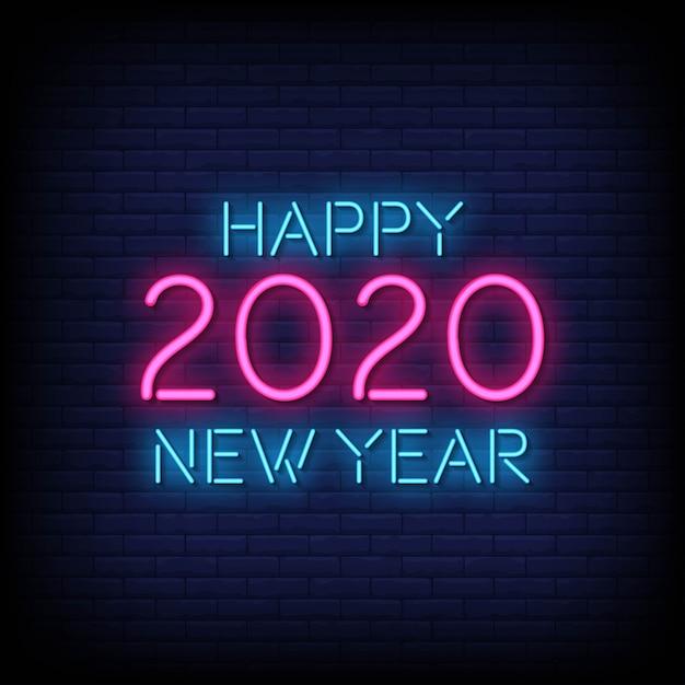 Szczęśliwego Nowego Roku 2020 Neon Znak Styl Tekst Wektor Premium Wektorów