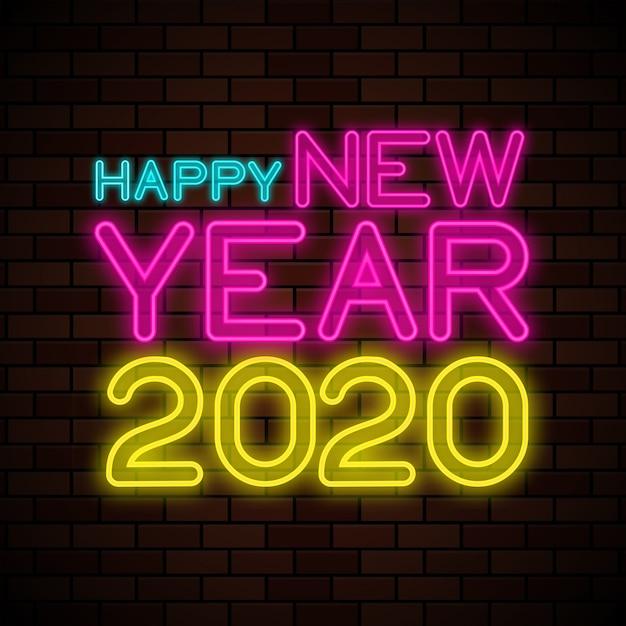 Szczęśliwego Nowego Roku 2020 Neon Znak Premium Wektorów