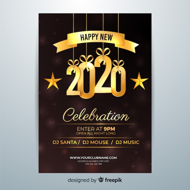 Szczęśliwego Nowego Roku 2020 Obchody Ulotki Darmowych Wektorów