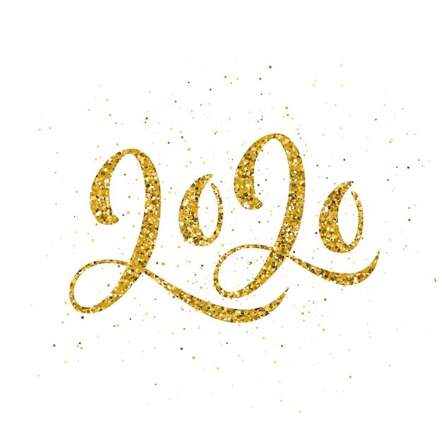 Szczęśliwego Nowego Roku 2020 Plakat Z Kompozycją Napisów. Premium Wektorów