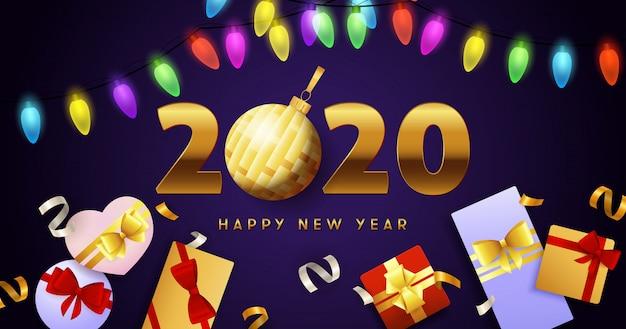 Szczęśliwego nowego roku 2020, świateł girlandy i pudełka na prezenty Darmowych Wektorów