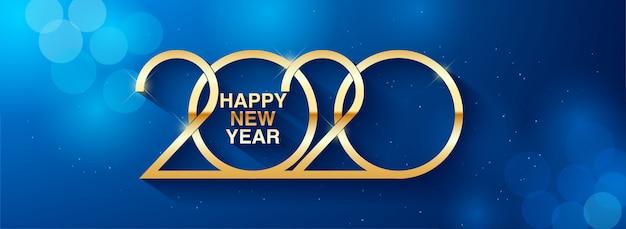 Szczęśliwego nowego roku 2020 tekst projektu pozdrowienie ilustracja ze złotymi liczbami Premium Wektorów