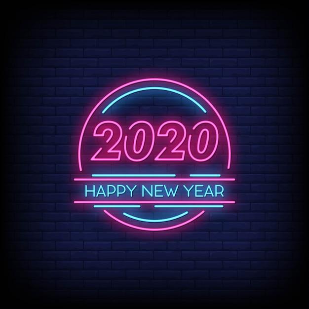 Szczęśliwego Nowego Roku 2020 Tekst W Stylu Neonowych Znaków Premium Wektorów