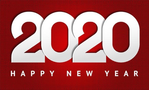 Szczęśliwego Nowego Roku 2020 Tekst Premium Wektorów