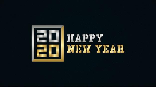 Szczęśliwego nowego roku 2020 w kolorze złotym i srebrnym Premium Wektorów