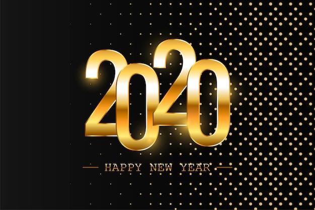 Szczęśliwego Nowego Roku 2020 Wakacje Wektor Ilustracja. Błyszcząca Kompozycja Z Iskierkami. Eps10 Premium Wektorów